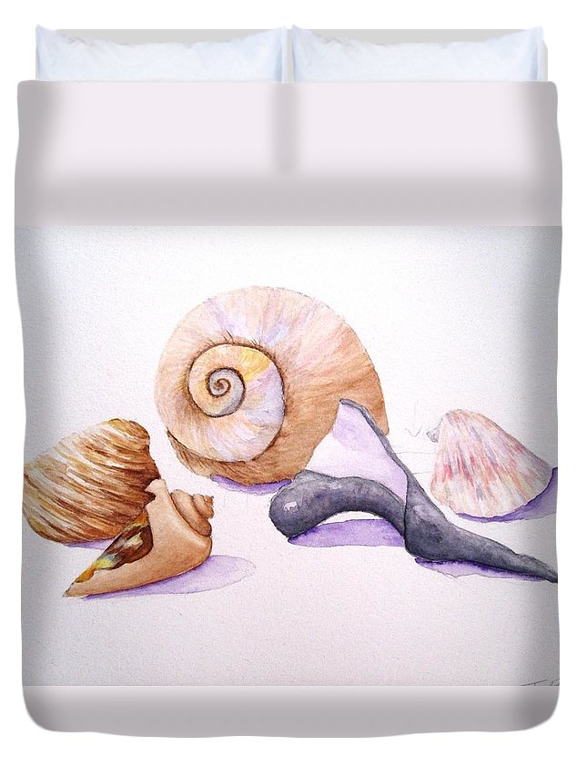 Shells Duvet Cover featuring the painting Shells Still Life by Tara Tyson