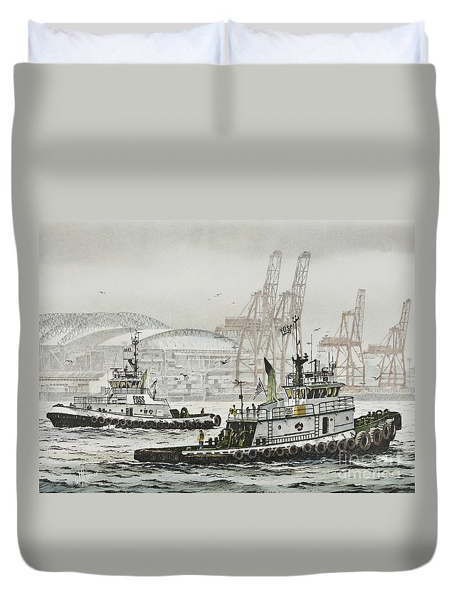 Tugs Duvet Cover featuring the painting Shelly And Wedell Foss by James Williamson