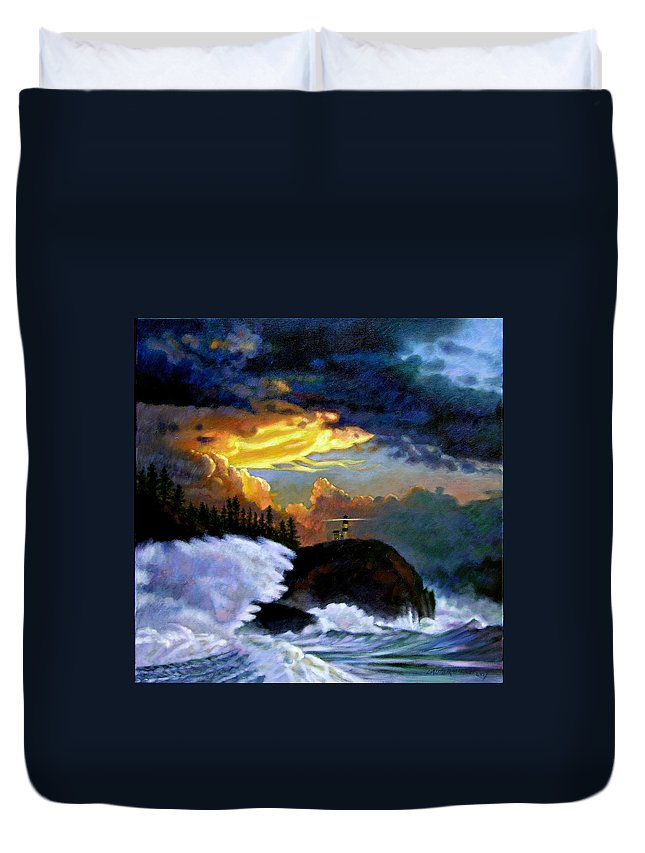 Ocean Duvet Cover featuring the painting Shelter From The Storm by John Lautermilch