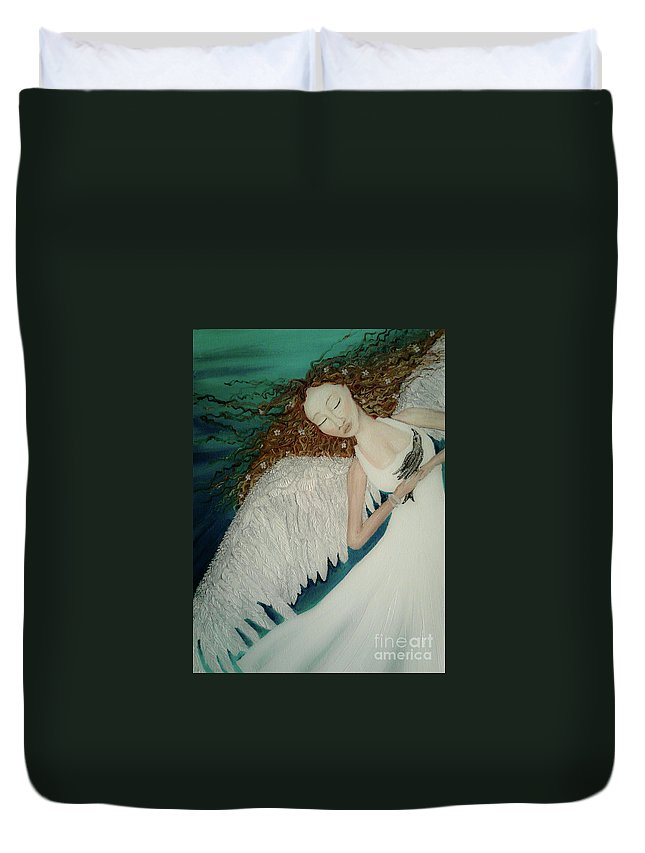 Storm Duvet Cover featuring the painting Shelter From The Storm by Wendy Wunstell