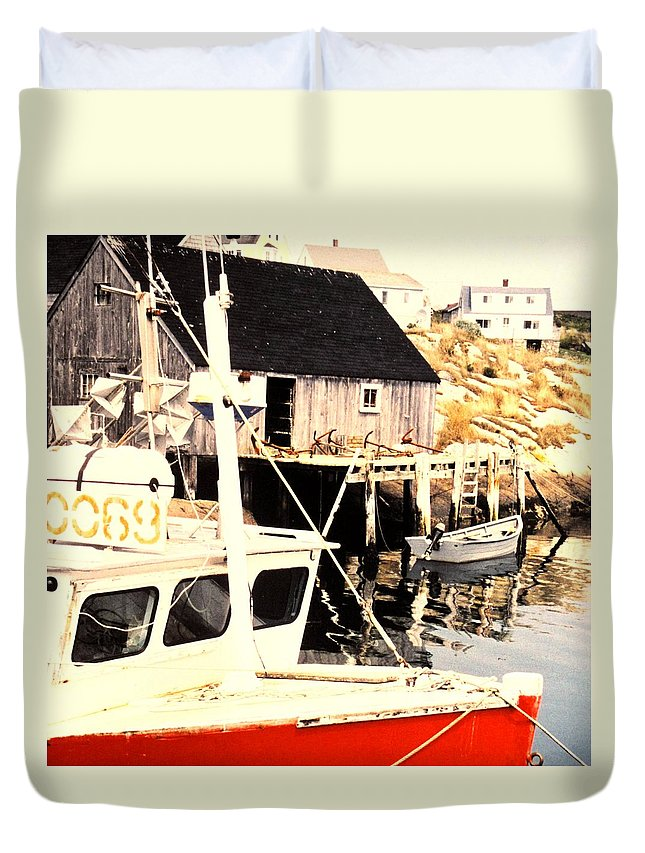 Peggys Cove Duvet Cover featuring the photograph Sheltered Port by Ian MacDonald