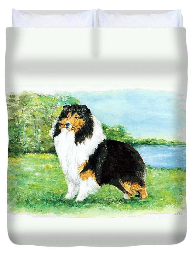Shetland Sheepdog Duvet Cover featuring the painting Sheltie Wait by Kathleen Sepulveda