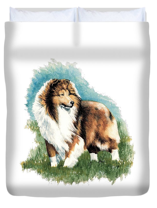 Shetland Sheepdog Duvet Cover featuring the painting Sheltie Watch by Kathleen Sepulveda