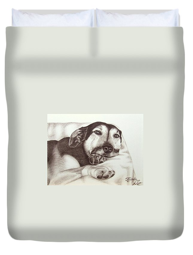 Dog Duvet Cover featuring the drawing Shepherd Dog Frieda by Nicole Zeug