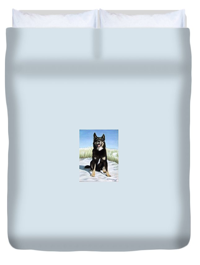 Dog Duvet Cover featuring the pastel Shepherd Mix Timmy by Nicole Zeug