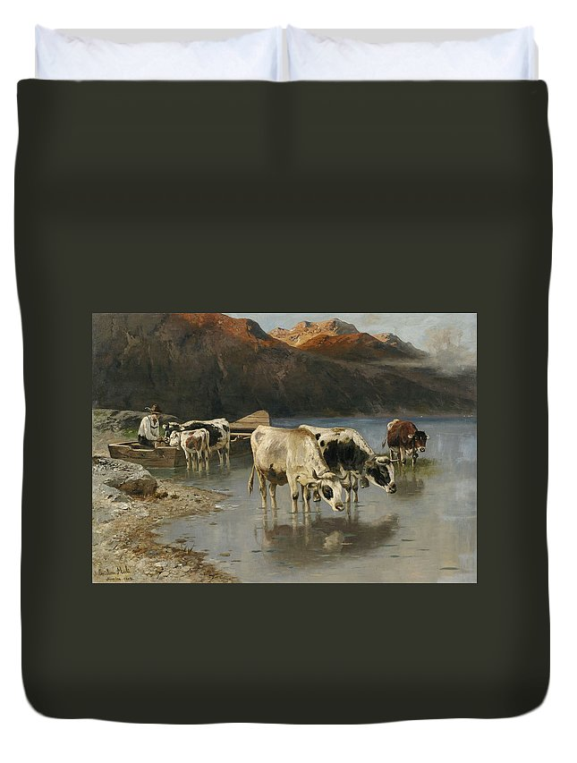Christian Friedrich Mali Duvet Cover featuring the painting Shepherd With Cows On The Lake Shore by Christian Friedrich Mali
