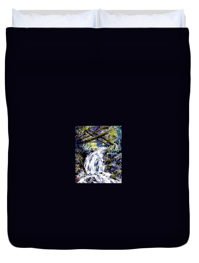Landscape Duvet Cover featuring the painting Shepherds Dell Falls Coumbia Gorge Or by Jim Gola