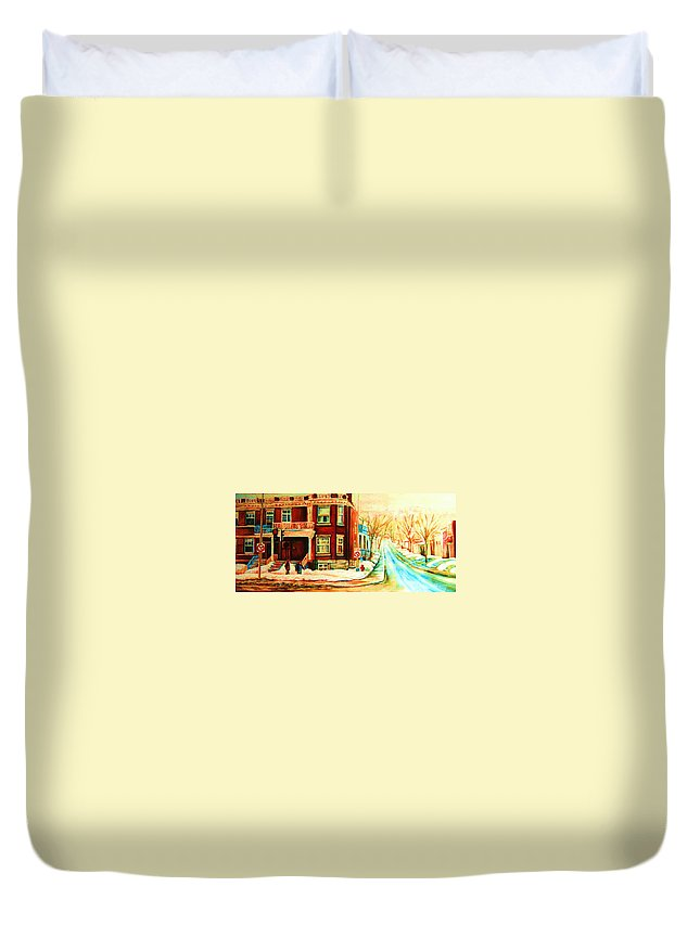 Montreal Duvet Cover featuring the painting Sherbrooke In Winter by Carole Spandau