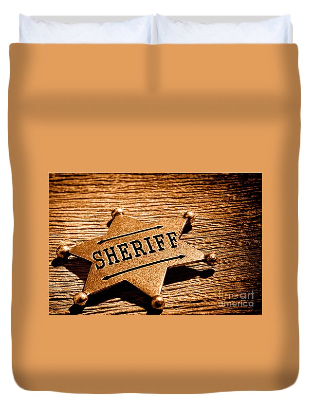 Sheriff Duvet Cover featuring the photograph Sheriff Badge - Sepia by Olivier Le Queinec