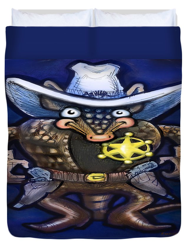 Sheriff Duvet Cover featuring the digital art Sheriff Dillo by Kevin Middleton