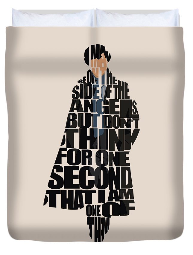 Sherlock Duvet Cover featuring the digital art Sherlock - Benedict Cumberbatch by Inspirowl Design