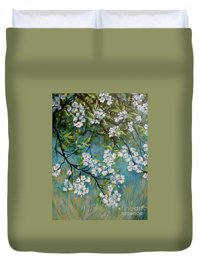 Spring Duvet Cover featuring the painting Sherry Flowers 2 by Cathy MONNIER