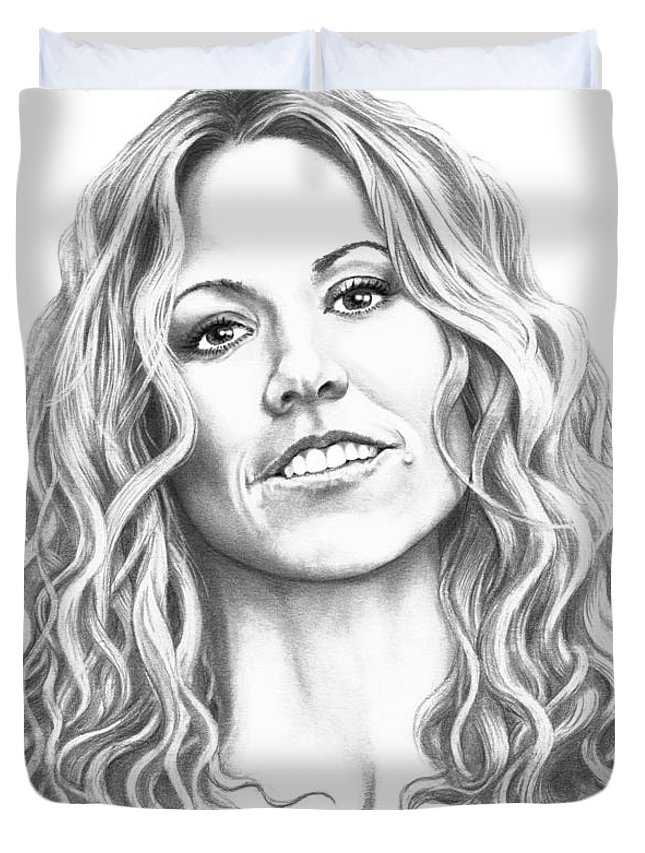 Drawing Duvet Cover featuring the drawing Sheryl Crow by Murphy Elliott