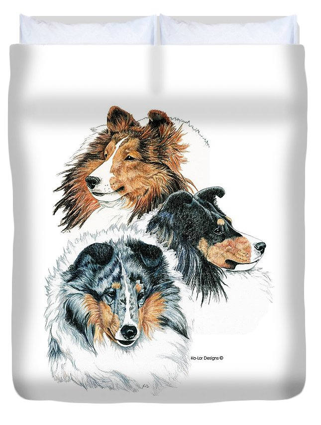 Shetland Sheepdog Duvet Cover featuring the drawing Shetland Sheepdogs by Kathleen Sepulveda