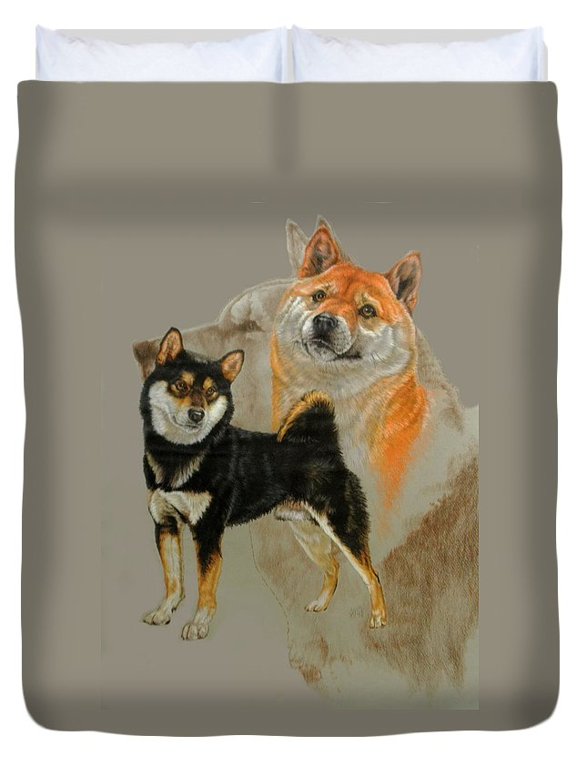 Non-sporting Group Duvet Cover featuring the mixed media Shiba Inu Revamp by Barbara Keith