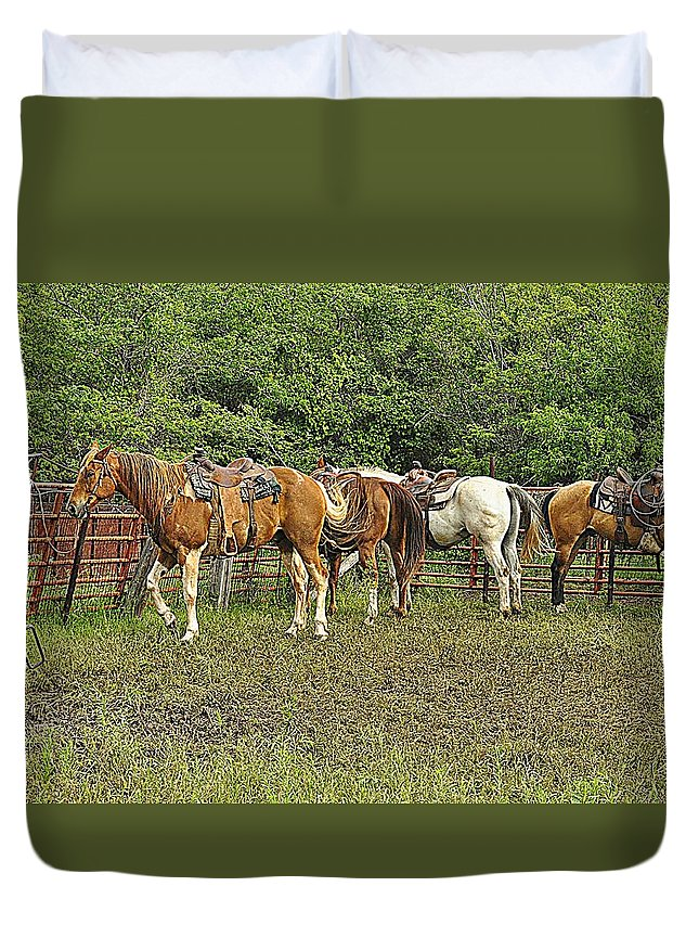 Horse Duvet Cover featuring the photograph Shift Change by Diana Cannon