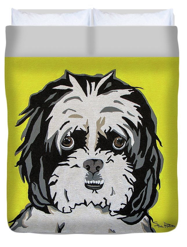 Shih Tzu Duvet Cover featuring the painting Shih Tzu by Slade Roberts