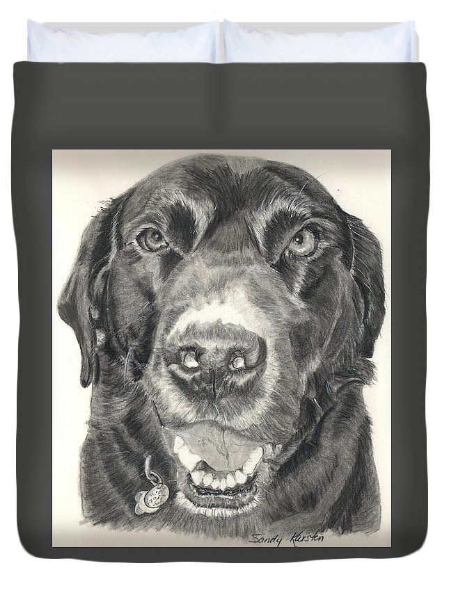 Charcoal Duvet Cover featuring the drawing Shiloh by Sandy Karsten