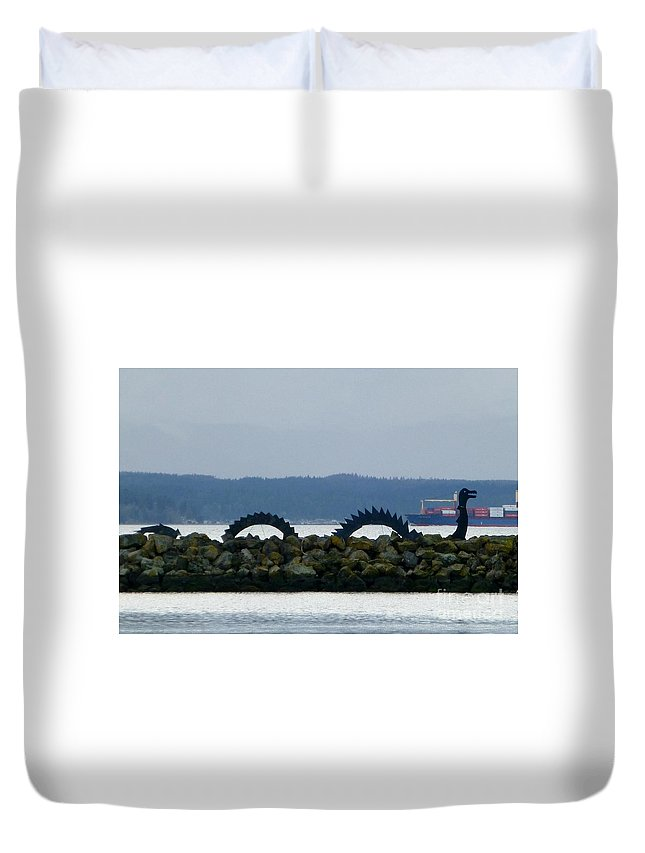 Sea Serpent Duvet Cover featuring the photograph Shilshole Sea Serpent by As the Dinosaur Flies Photography