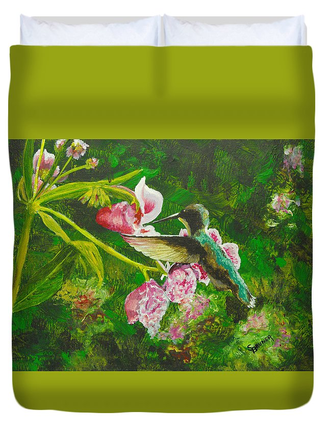 Nature Duvet Cover featuring the painting Shimmering Hummingbird by Susan Bruner