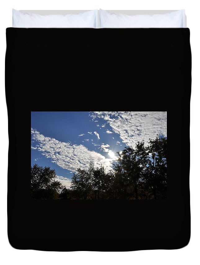 Sunny Sky Duvet Cover featuring the photograph Shine And Smile by Georgeta Blanaru
