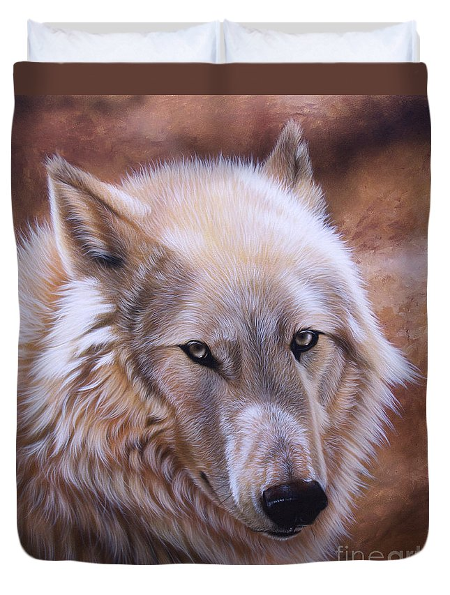 Acrylic Duvet Cover featuring the painting Shine by Sandi Baker