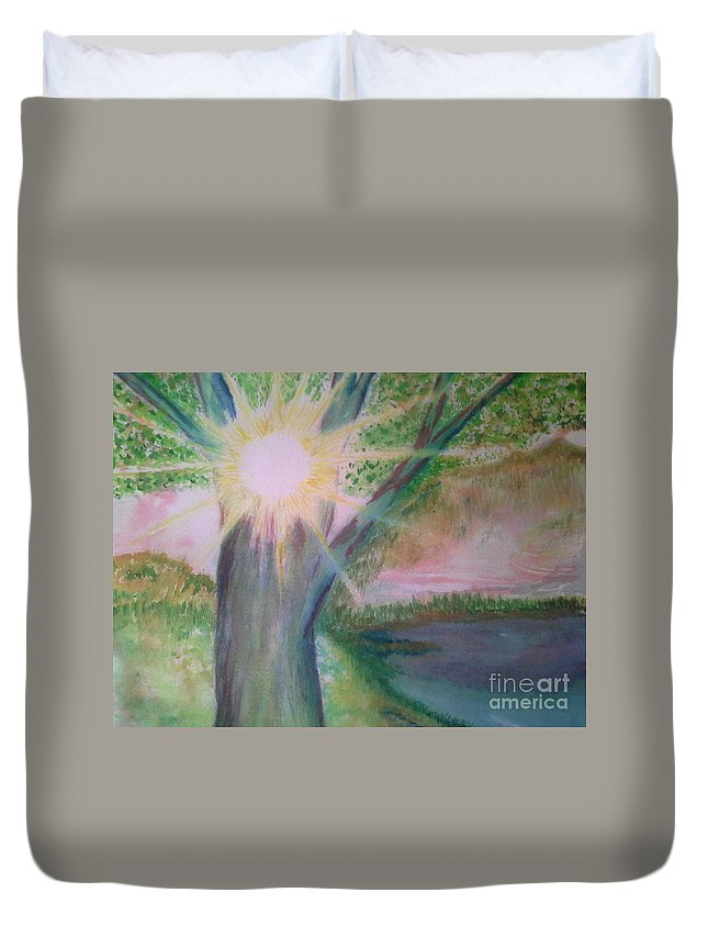 Landscape Duvet Cover featuring the painting Shine Thru by Nadine Cotton