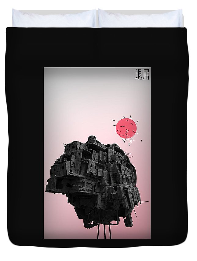 Duvet Cover featuring the digital art Shinigami House by Henri Schoots