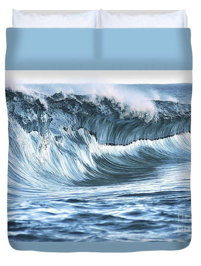 Aqua Duvet Cover featuring the photograph Shiny Wave by Vince Cavataio - Printscapes