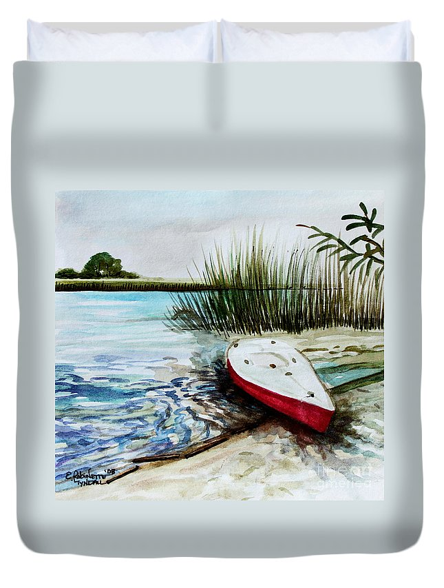Landscape Duvet Cover featuring the painting Ship Ahoy by Elizabeth Robinette Tyndall
