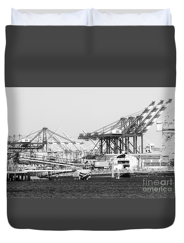 Ship Duvet Cover featuring the photograph Ship Container Cranes Blk Wht by Cheryl Del Toro