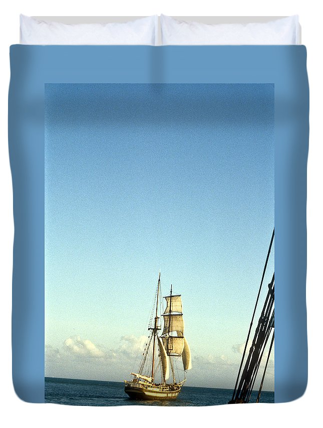 Ship Duvet Cover featuring the photograph Ship Off The Bow by Douglas Barnett