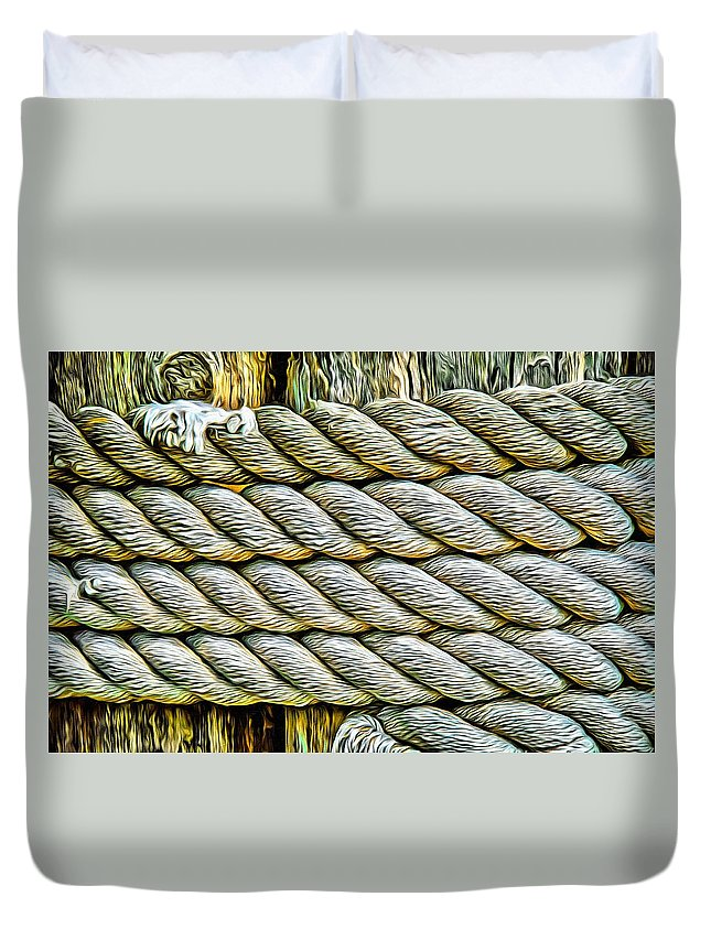Ship Rope Duvet Cover featuring the photograph Ship Rope Anchored by Roxy Hurtubise