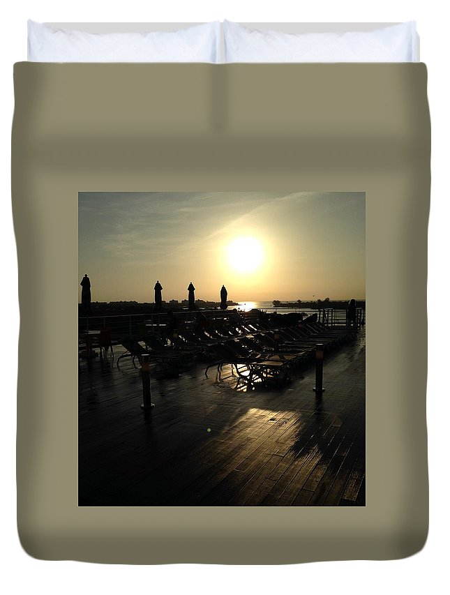 Ship Duvet Cover featuring the photograph Ship sunrise by Shari Chavira
