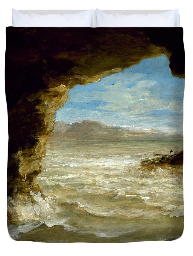 Eugene Delacroix Duvet Cover featuring the painting Shipwreck On The Coast by Eugene Delacroix