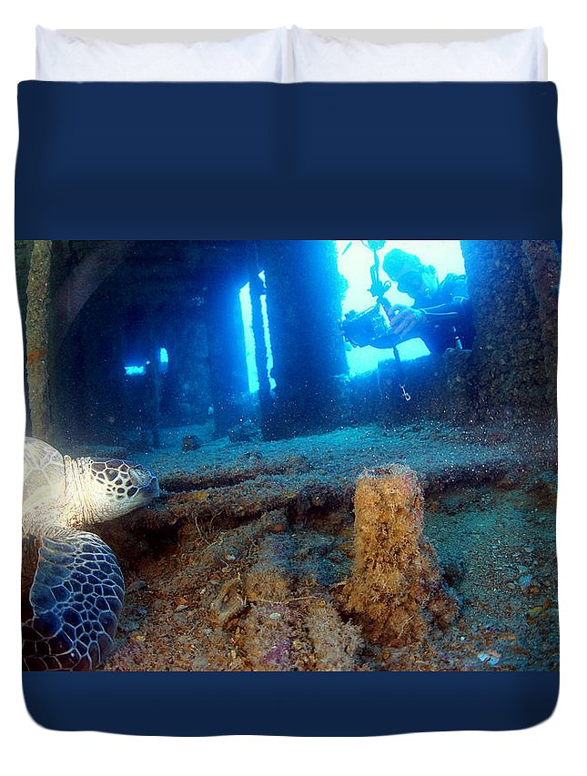 Duvet Cover featuring the photograph Shipwrecked Turtle by Todd Hummel