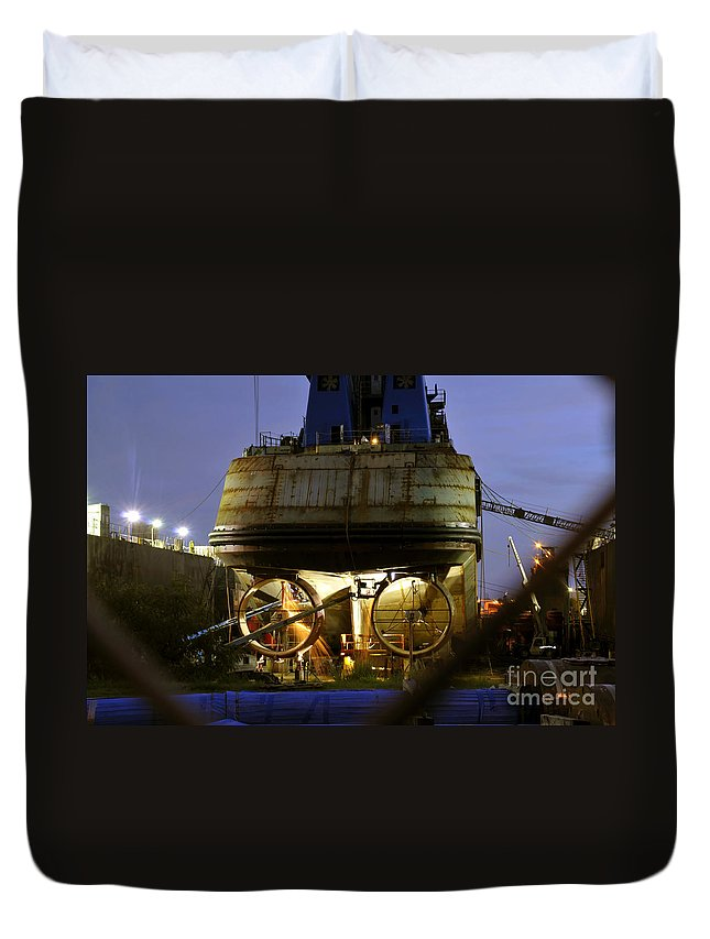 Shipyard Duvet Cover featuring the photograph Shipyard Work by David Lee Thompson