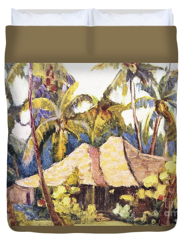 1938 Duvet Cover featuring the painting Shirley Russell Art by Hawaiian Legacy Archive - Printscapes