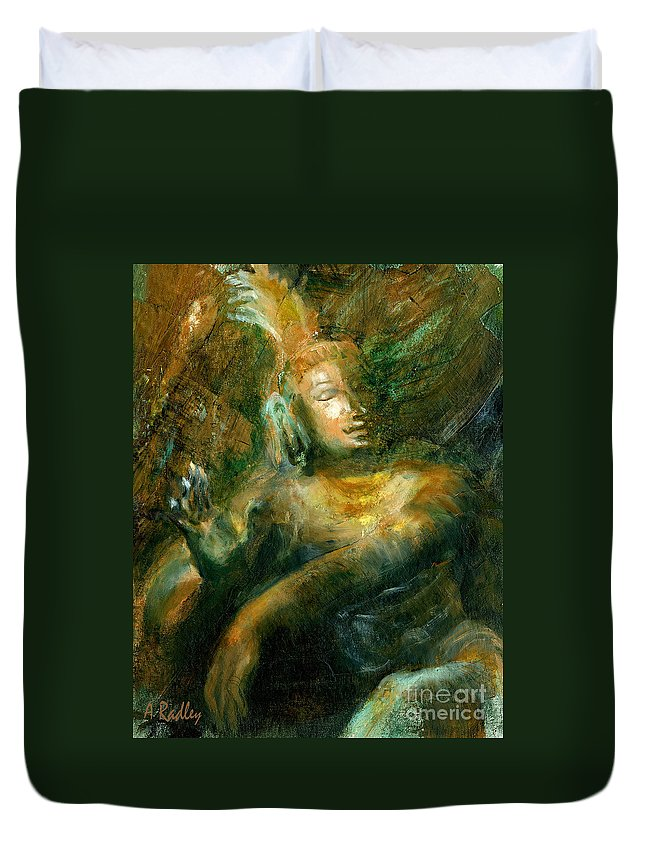 Shiva Siva Nataraja Lord Dance Cosmic Indian Chola Bronze Tamil Nadu Oil Dancer Mudra Cosmology Bliss Creation Destruction Universe Creator Destroyer Duvet Cover featuring the painting Shiva Lord Of The Dance by Ann Radley