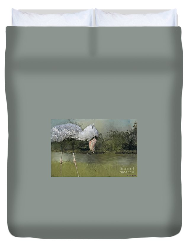 Duvet Cover featuring the photograph Shoebill Looking For Food by Eva Lechner