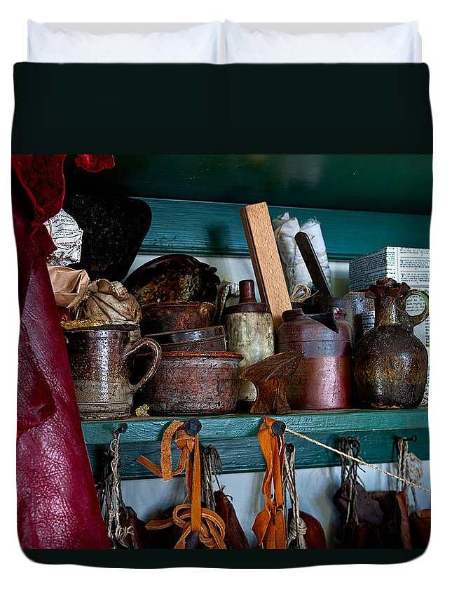 Cans Duvet Cover featuring the photograph Shoemaker Supplies by Christopher Holmes