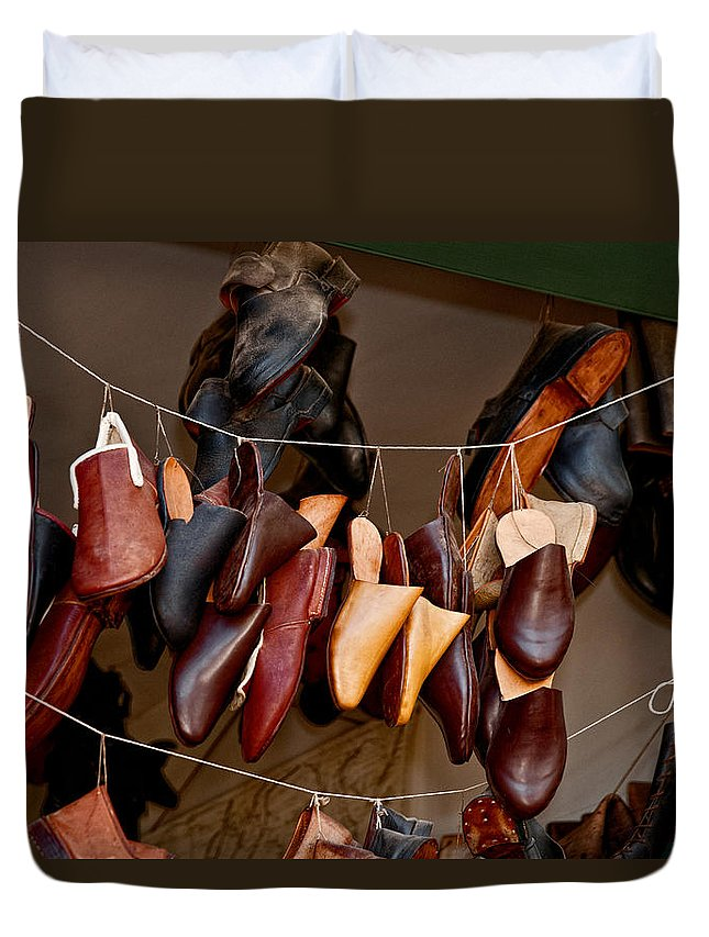 Shoes Duvet Cover featuring the photograph Shoes For Sale by Christopher Holmes