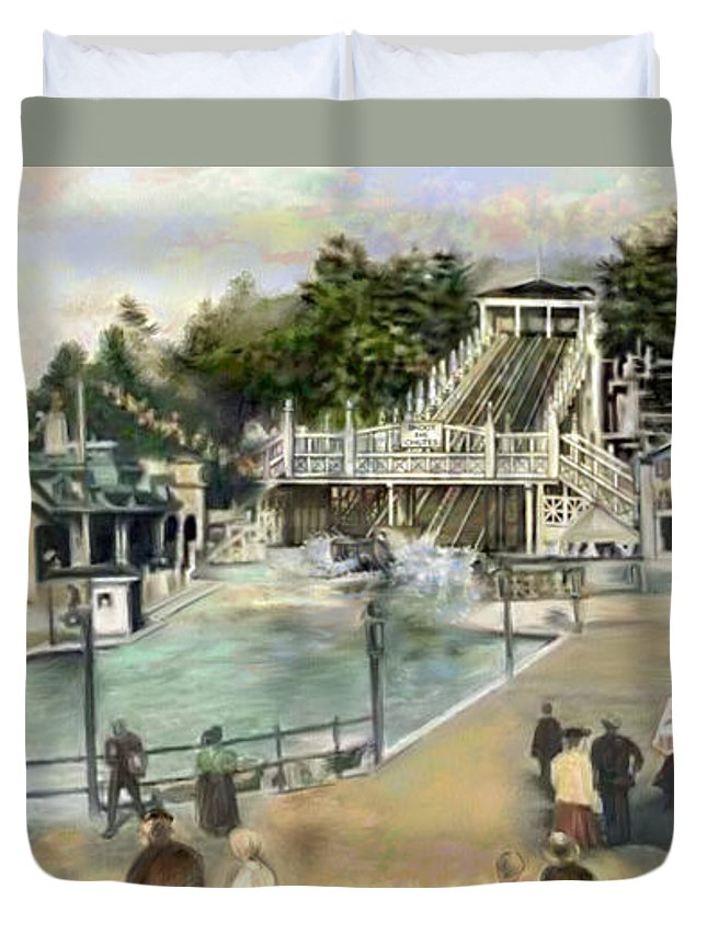 People Duvet Cover featuring the painting Shoot The Chutes.1907 White City  by Mark Tonelli