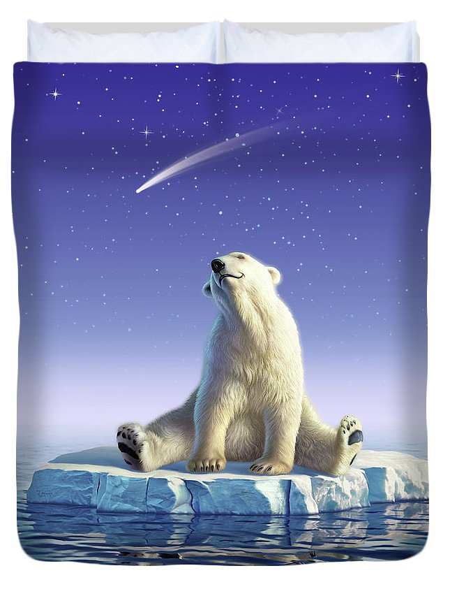 Snow Duvet Cover featuring the digital art Shooting Star by Jerry LoFaro