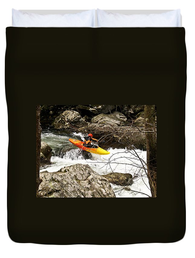 Rapids Duvet Cover featuring the photograph Shooting The Rapids by Douglas Barnett