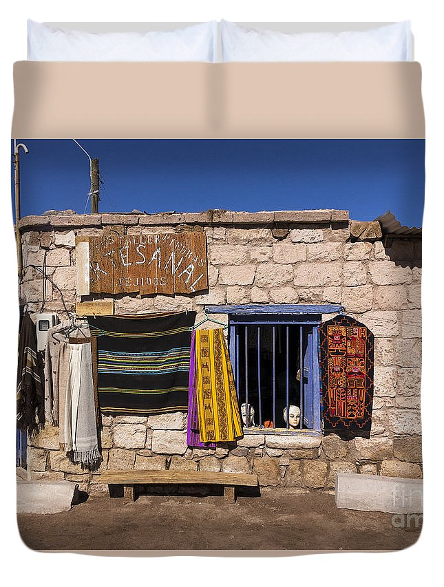 Toconao Duvet Cover featuring the photograph Shopping In Toconao Chile by Kenneth Lempert