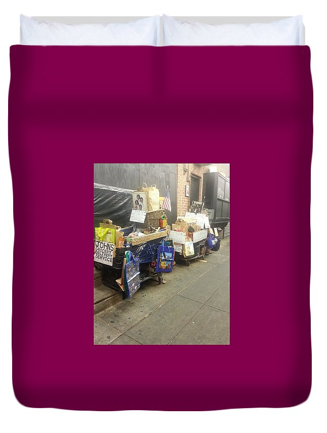 Italian Market Duvet Cover featuring the photograph Shopping by Jayne Surrena