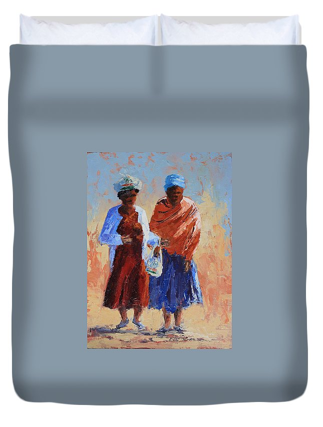 Figures Duvet Cover featuring the painting Shopping by Yvonne Ankerman
