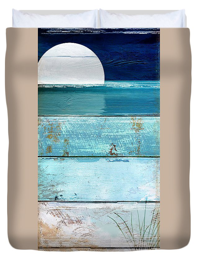 Beach Duvet Cover featuring the painting Shore And Moonrise by Mindy Sommers