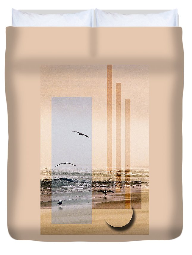 Abstract Duvet Cover featuring the photograph Shore Collage by Steve Karol